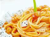 火龙果茄汁黄豆意面